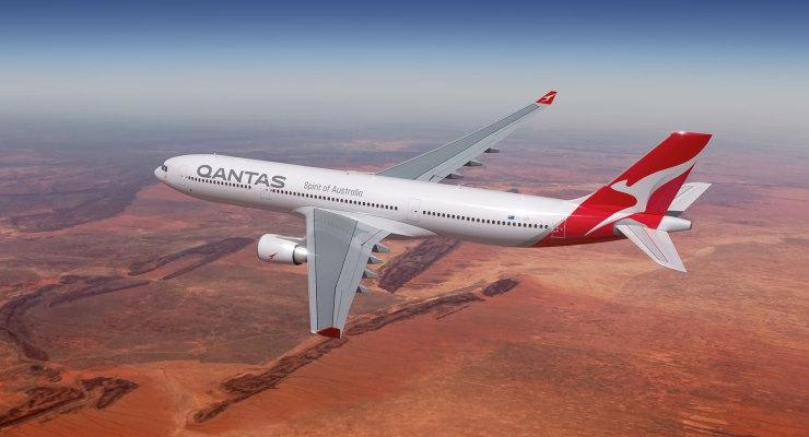 Qantas plane mid-flight in sky