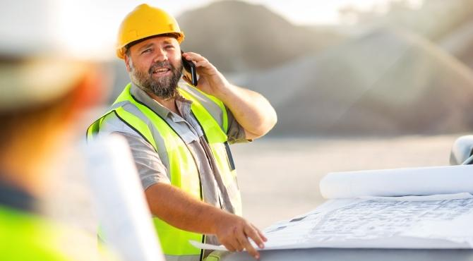 Construction client on the phone